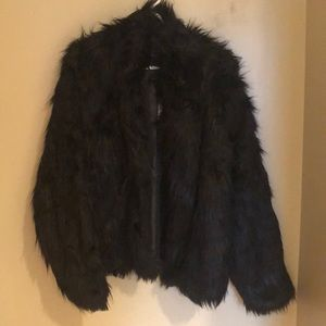 Faux fur evening coat